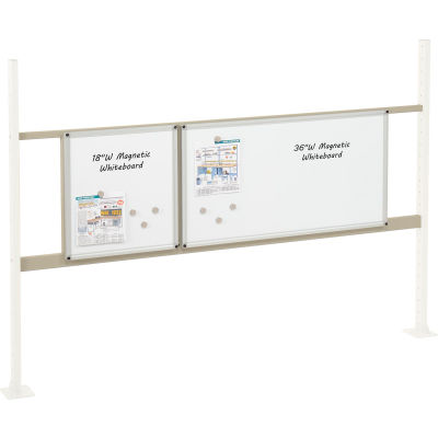 "Global Industrial™ Panel Kit for 72""W Workbench - 18""W and 36""W Whiteboard, Mounting Rail Tan"