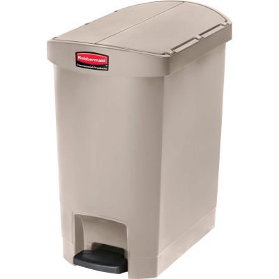 Rubbermaid® Slim Jim® 1883457 Plastic Step On Container, End Step 8 Gallon - Beige