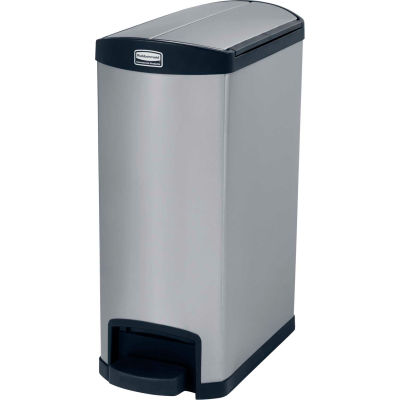 Rubbermaid® Slim Jim® 1901993 Stainless Steel Step On Can, End Step 13 Gallon - Black