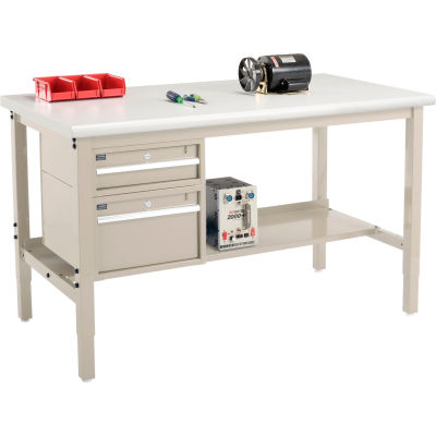 Global Industrial™ 60 x 36 Production Workbench - Laminate Safety Edge - Drawers & Shelf - Tan
