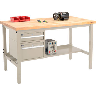 "Global Industrial™ 96""W x 36""D Production Workbench - Birch Square Edge - Drawers & Shelf - Tan"