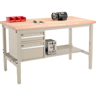 "Global Industrial™ 60""W x 36""D Production Workbench - Maple Safety Edge - Drawers & Shelf - Tan"