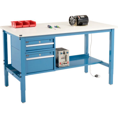 """Global Industrial™ 60""""W x 36""""D Production Workbench - ESD Square Edge - Drawers & Shelf - Blue"""