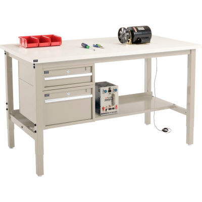 """Global Industrial™ 72""""W x 30""""D Production Workbench - ESD Square Edge - Drawers & Shelf - Tan"""
