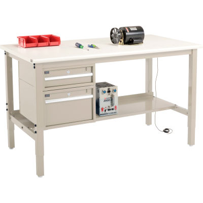 "Global Industrial™ 60""W x 36""D Production Workbench - ESD Safety Edge - Drawers & Shelf - Tan"