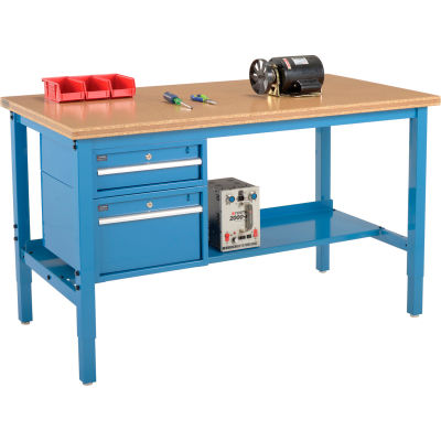 Global Industrial™ 60 x 30 Production Workbench - Shop Top Square Edge - Drawers & Shelf - Blue