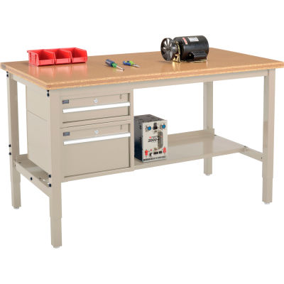 Global Industrial™ 72 x 30 Production Workbench - Shop Top Square Edge - Drawers & Shelf - Tan