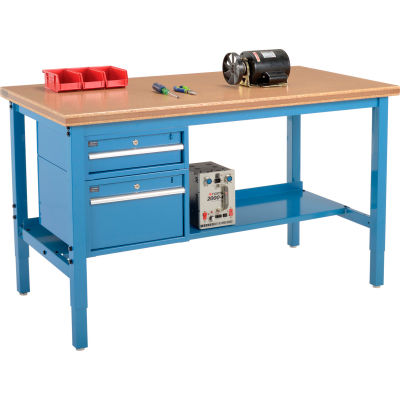 Global Industrial™ 72 x 36 Production Workbench - Shop Top Safety Edge - Drawers & Shelf - Blue