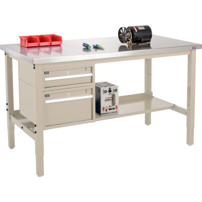 Global Industrial™ 60x30 Production Workbench, Stainless Steel Square Edge, Drawers & Shelf Tan