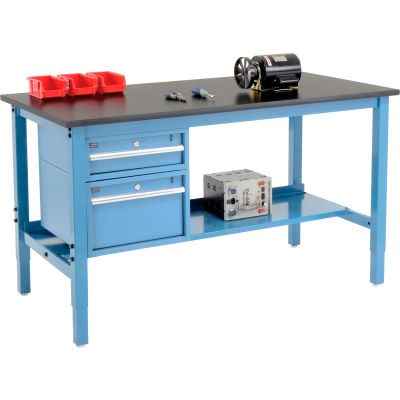 Global Industrial™ 60 x 36 Production Workbench - Phenolic Safety Edge - Drawers & Shelf Blue