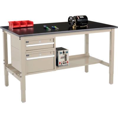 Global Industrial™ 72 x 30 Production Workbench - Phenolic Safety Edge - Drawers & Shelf - Tan