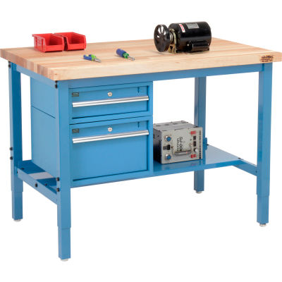 Global Industrial™ 96 x 36 Production Workbench - Maple Square Edge - Drawers & Shelf - Blue