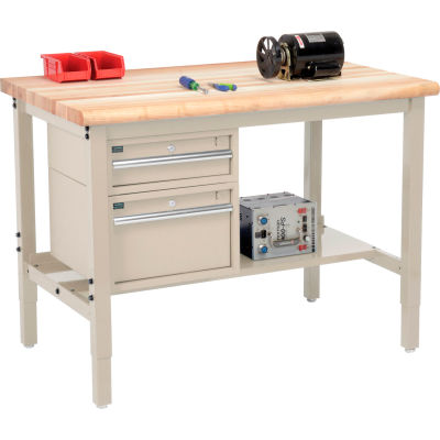 """Global Industrial™ 48""""W x 36""""D Production Workbench - Maple Safety Edge - Drawers & Shelf - Tan"""