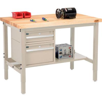 "Global Industrial™ 48""W x 30""D Production Workbench - Birch Square Edge - Drawers & Shelf - Tan"