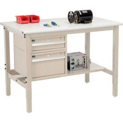 """Global Industrial™ 48""""W x 30""""D Production Workbench - ESD Safety Edge - Drawers & Shelf - Tan"""