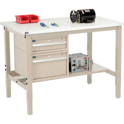 "Global Industrial™ 48""W x 30""D Production Workbench - ESD Square Edge - Drawers & Shelf - Tan"