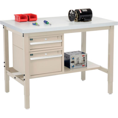 Global Industrial™ 48 x 30 Production Workbench - Laminate Square Edge - Drawers & Shelf - Tan