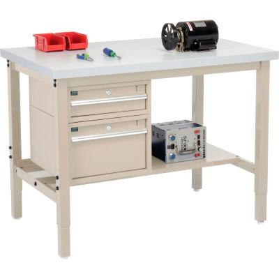 Global Industrial™ 48 x 36 Production Workbench - Laminate Square Edge - Drawers & Shelf - Tan