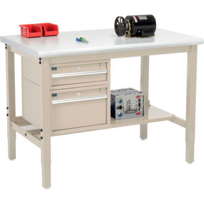 Global Industrial™ 48 x 30 Production Workbench - Laminate Safety Edge - Drawers & Shelf - Tan