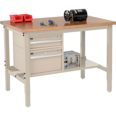 Global Industrial™ 48 x 30 Production Workbench - Shop Top Square Edge - Drawers & Shelf - Tan