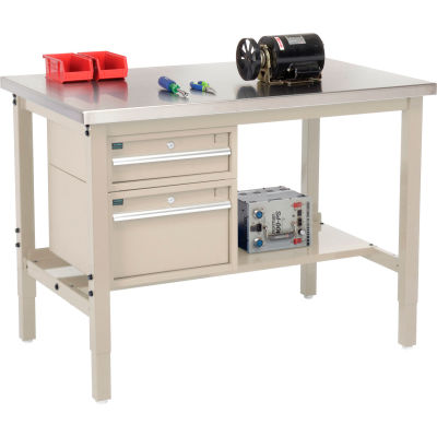 "Global Industrial™ 48""W x 30""D Production Workbench - SS Square Edge with Drawers & Shelf - Tan"