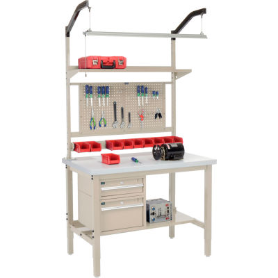 """Global Industrial™ 48""""W x 30""""D Production Workbench - Laminate Square Edge Complete Bench - Tan"""