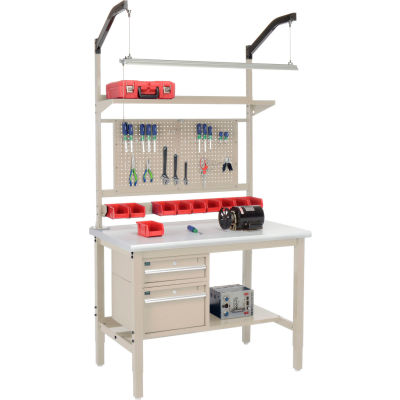 """Global Industrial™ 48""""W x 30""""D Production Workbench - Laminate Safety Edge Complete Bench - Tan"""