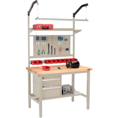 """Global Industrial™ 48""""W x 30""""D Production Workbench - Birch Square Edge Complete Bench - Tan"""