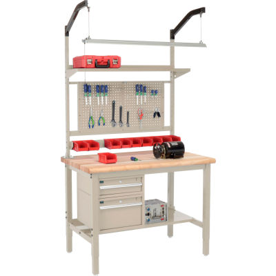 """Global Industrial™ 48""""W x 30""""D Production Workbench - Maple Safety Edge Complete Bench - Tan"""