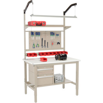 """Global Industrial™ 48""""W x 30""""D Production Workbench - ESD Safety Edge Complete Bench - Tan"""