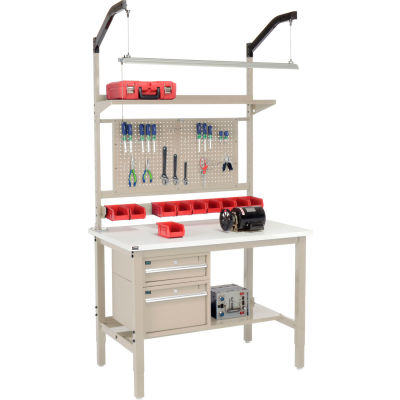 "Global Industrial™ 48""W x 30""D Production Workbench - ESD Square Edge Complete Bench - Tan"
