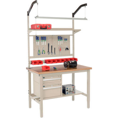 """Global Industrial™ 48""""W x 30""""D Production Workbench - Shop Top Square Edge Complete Bench - Tan"""