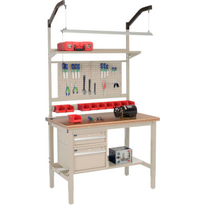 "Global Industrial™ 48""W x 30""D Production Workbench - Shop Top Safety Edge Complete Bench - Tan"