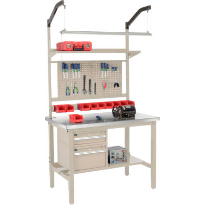 Global Industrial™ 48x30 Production Workbench - Stainless Steel Square Edge Complete Bench Tan