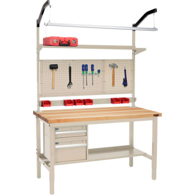 """Global Industrial™ 60""""W x 36""""D Production Workbench - Birch Square Edge Complete Bench - Tan"""
