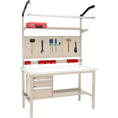 """Global Industrial™ 72""""W x 36""""D Production Workbench - ESD Square Edge Complete Bench - Tan"""