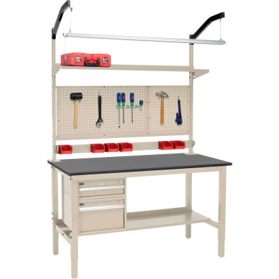 Global Industrial™ 60 x 36 Production Workbench - Phenolic Safety Edge Complete Bench - Tan