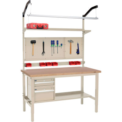 """Global Industrial™ 60""""W x 36""""D Production Workbench - Shop Top Square Edge Complete Bench - Tan"""