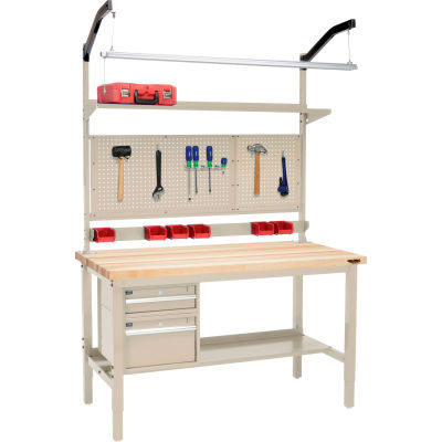 """Global Industrial™ 72""""W x 30""""D Production Workbench - Maple Square Edge Complete Bench - Tan"""