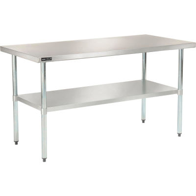 "18 Gauge 430 Stainless Steel Workbench - Galvanized Legs & Undershelf 60""W x 30""D"