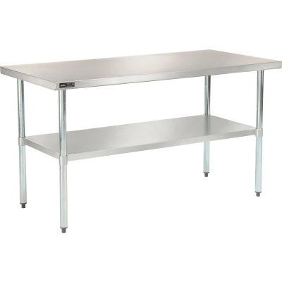 "Global Industrial™ 18 Gauge 430 Stainless Steel Workbench, Galvanized Legs & Undershelf 60""x30"""