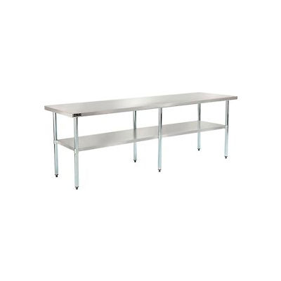 "Global Industrial™ 18 Gauge 430 Stainless Steel Workbench, Galvanized Legs & Undershelf 96""x30"""
