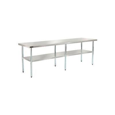 """Global Industrial™ Workbench w/ 18 Ga 430 Series SS Top & Galvanized Shelf, 96""""W x 30""""D"""