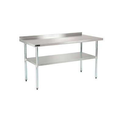 "18 Gauge 430 Stainless Steel Workbench 2"" Backsplash - Galvanized Legs & Undershelf 60""W x 30""D"