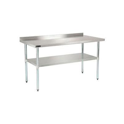 "Global Industrial™ Workbench W/Shelf, 18 Ga. 430 Series Stainless, 2"" Backsplash, 60""Wx30""D"