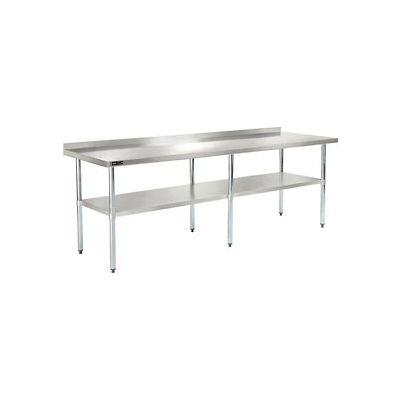 "Global Industrial™ Workbench W/Shelf, 18 Ga. 430 Series Stainless, 2"" Backsplash, 96""Wx30""D"