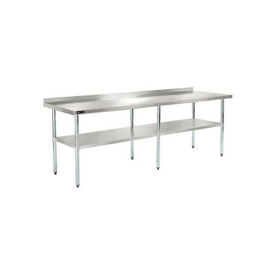 "Global Industrial™ Workbench w/ 18 Ga 430 Series SS Top, 2"" Backsplash & Undershelf, 96""Wx30""D"