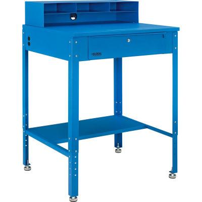"Global Industrial™ Shop Desk - Pigeonhole Riser 34-1/2""W x 30""D x 38""H Flat Surface - Blue"