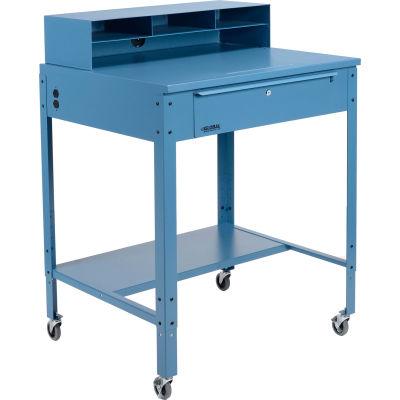 Global Industrial™ Mobile Shop Desk - Pigeonhole Riser 34-1/2 x 30 x 38 Flat Surface - Blue