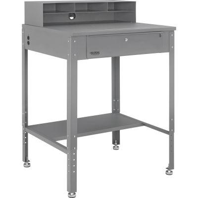 "Shop Desk with Pigeonhole Compartment Riser 34-1/2""W x 30""D x 38""H Flat Surface - Gray"